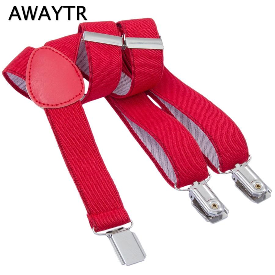 AWAYTR 60cm Adjustable Suspenders Elastic Braces Red Color Belts For Kids Children Boy Girls High Quality Wedding School Party
