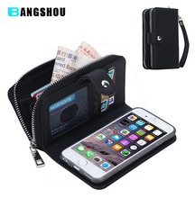 Multifunction Leather Wallet Case for Samsung Galaxy S4 S5 S6 S7 Edge for iPhone 5s 6 6s Lady Handbag Cover Zipper Purse Pouch
