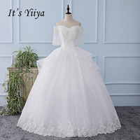 It S YiiYa White Half Sleeves Off Collar Wedding Dress Ruched Simple Tulla Bride Wedding Gown