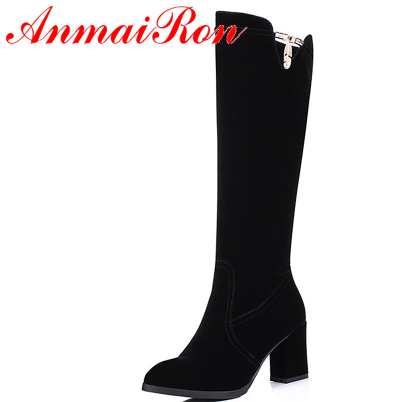 ФОТО ANMAIRON New Arrival Women Shoes Knee-high Boots Big Size Black Color Winter Warm Boots Square Heel Round Toe Boots Shoes Women