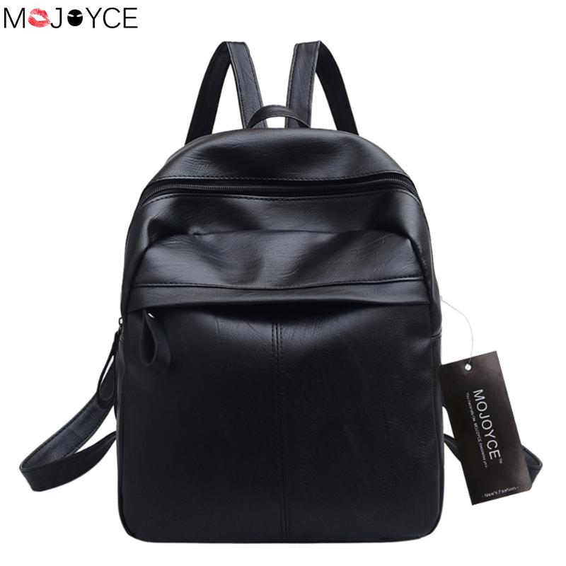 New Soft Leather Travel Backpacks for Teenager Girls Korean Rucksack Leisure Student School bag Black Women Shoulder Bag mochila zooler women s backpack eyes sequined designer black cartoon eyes backpacks travel bag cute shell backpacks for teenager girls