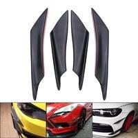 4X Universal Real Carbon Fiber Car Front Bumper Fins Body Spoiler Canards Black