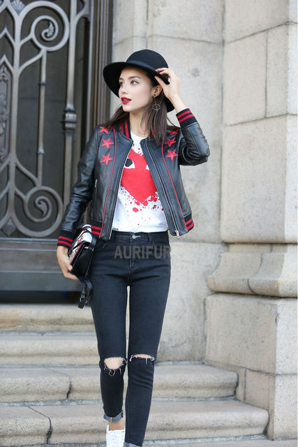 2017 New Red Star Pattern Womens Real Sheep Leather Jackets Ladies Genuine Leather Casual Coats Round Collar AU00882