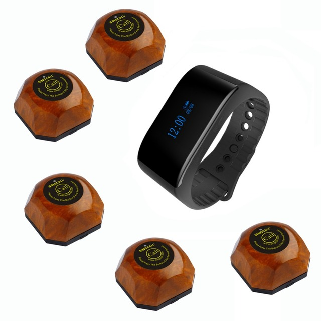 SINGCALL Restaurant Waiter Calling System New APE6900 Waterproof Bracelet Watch Receiver and 5 Service Pagers
