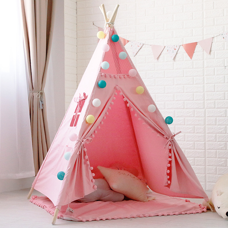 Four-Pole Pink Pom Poms Teepee Kids Play Tipi Tent pink canvas pom pom kids play teepee tipi tepee play tent with carry case