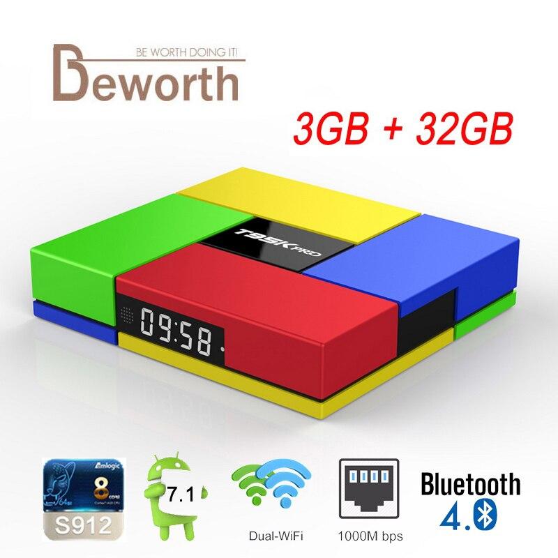 T95K PRO Amlogic S912 Octa Core Andorid 7.1 TV BOX AM 3GB ROM 32GB 2.4/5GHz Dual WiFi BT4.0 4K H.265 1000M VP9 HDR Media Player