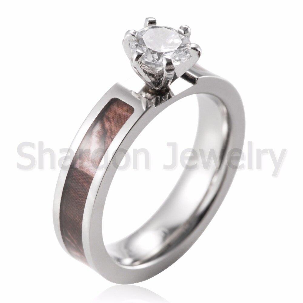 Aliexpress : Buy Shardon Camo Engagement Ring Titanium Wild Tree Branch  Engagement Ring Wedding Band 6 Prong Setting Round Cz Ring For Women From