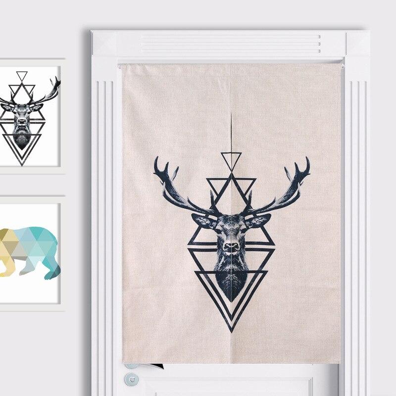 Nordic Deer Zebra Cotton Curtain Home Baby Linen Door