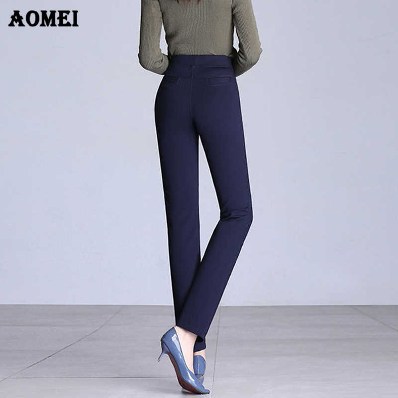 432c56a5936f6 ... Women Long Pants Slim Office Lady Wear Work Black Navy Blue High  Elastic Waist Trousers Modest ...