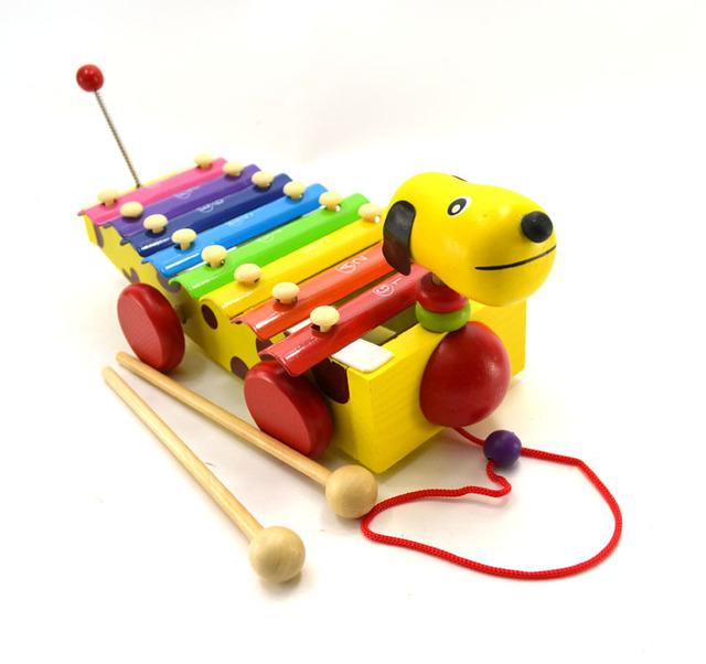 Cão dos desenhos animados Animais 8 Notas Xilofone De Madeira Para Crianças Novos Anos Presente Cor Aleatória Brinquedo Para Meninas D325