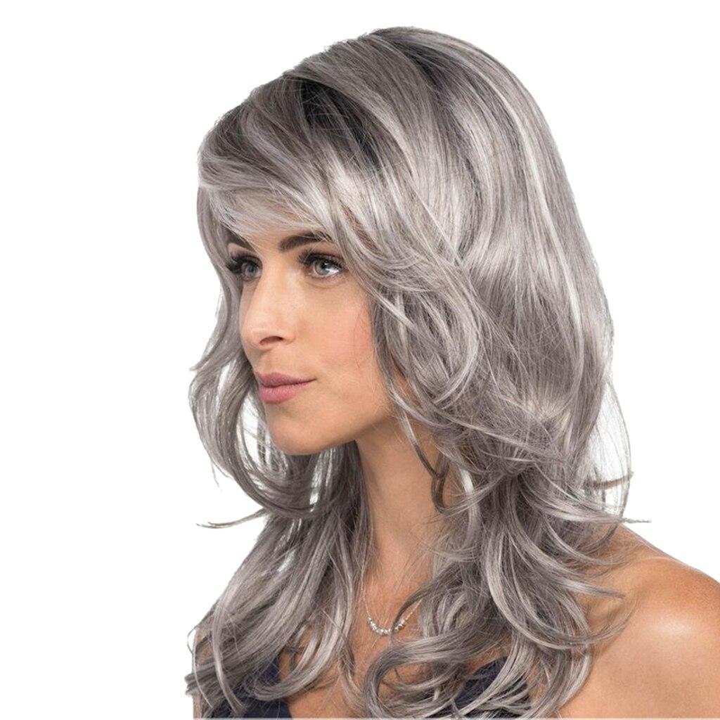Apprensivo Classico Lungo Ricci Grigio Multi-layered Parrucche Sintetiche Con Hairnet Per Le Donne Cosplay Puntelli
