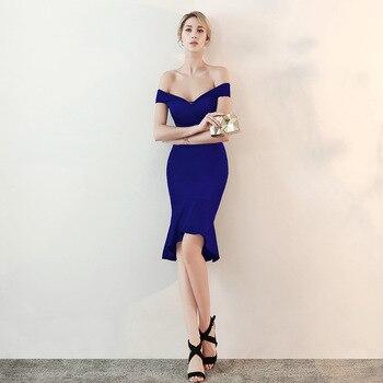 13fd33345 Mujeres elegantes partido vestido Sexy azul Slash cuello rodilla-longitud  del desgaste del Club Celebrity Party vestido de sirena Delgado Vestidos