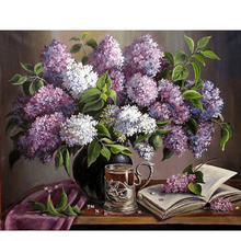 5d diamond embroidery lilac vase painting floral full sewing rhinestone cross stitch sequins crystal art crafts for wall