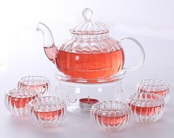 Тыква боросиликатный чайный горшок набор заварочный чайный горшок + Теплее + 6 чайных чашек