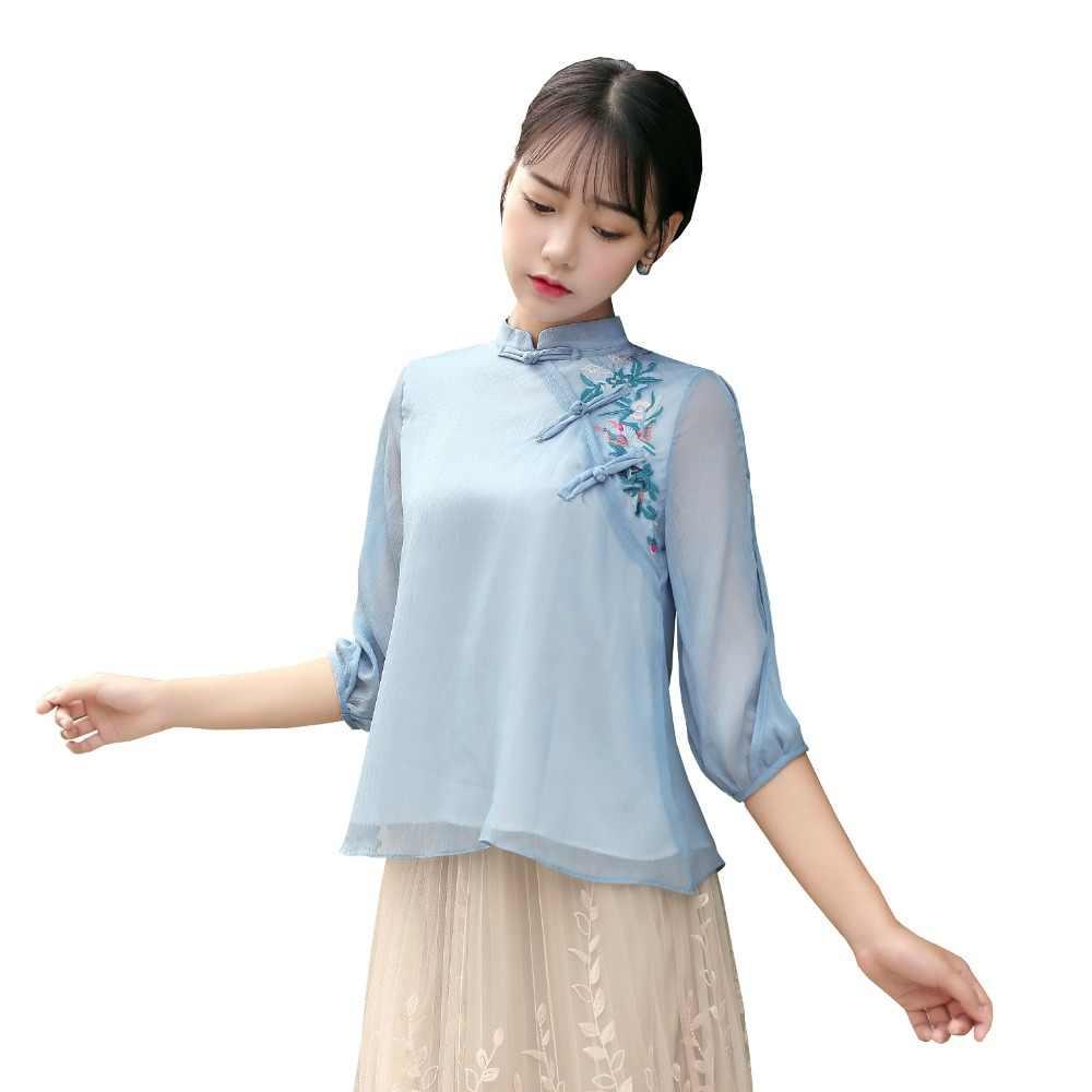 上海ストーリー新到着マンダリンの伝統的な中国トップ韓服のチャイナシャツ 3/4 スリーブ中国ブラウス女性のための