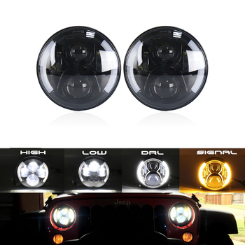 2x Black 7Inch Round H/L DRL W/ Turn Signal Led Headlight Assembly Kit For Lada 4x4 Urban Niva For Jeep Wrangler For Land Rover