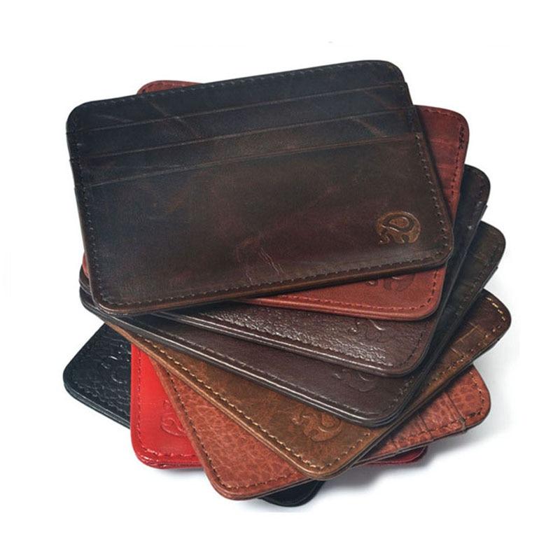 Esimene kiht Lehm Nahk Brand Slim Krediitkaardi hoidja Mini rahakott mens Nahk ID kohtuasi rahakott kott kott Uus kaas passi