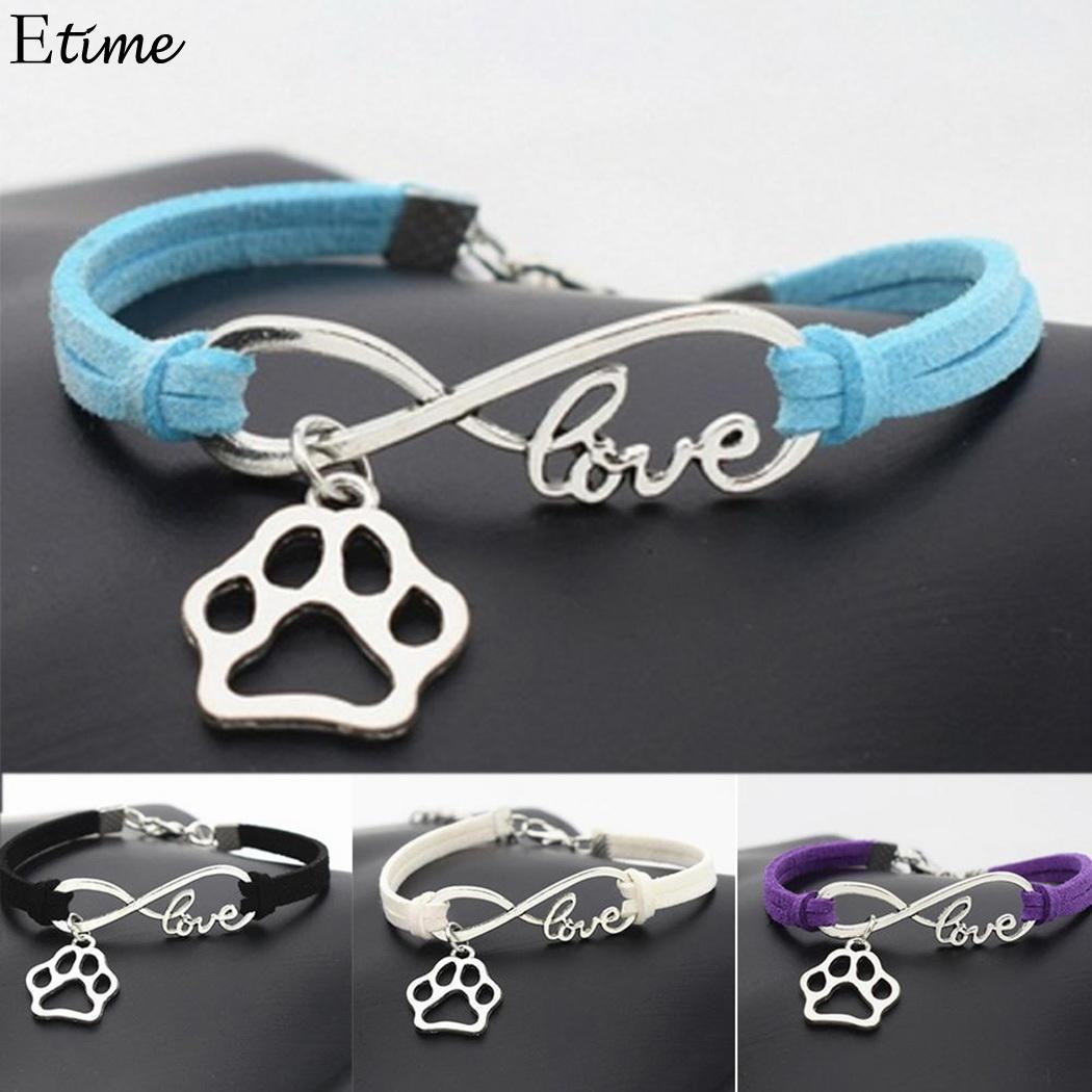 Fa Fashion Women Bracelet Best Friends Leather Pattern Vintage Style Paw Dog Rope Wrap Bracelets Gift For Jewelry
