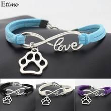 40224e4ae843 FANALA pulsera de mujer de moda mejores amigos de cuero patrón de Estilo  Vintage pata de perro cuerda pulseras regalo para la jo.