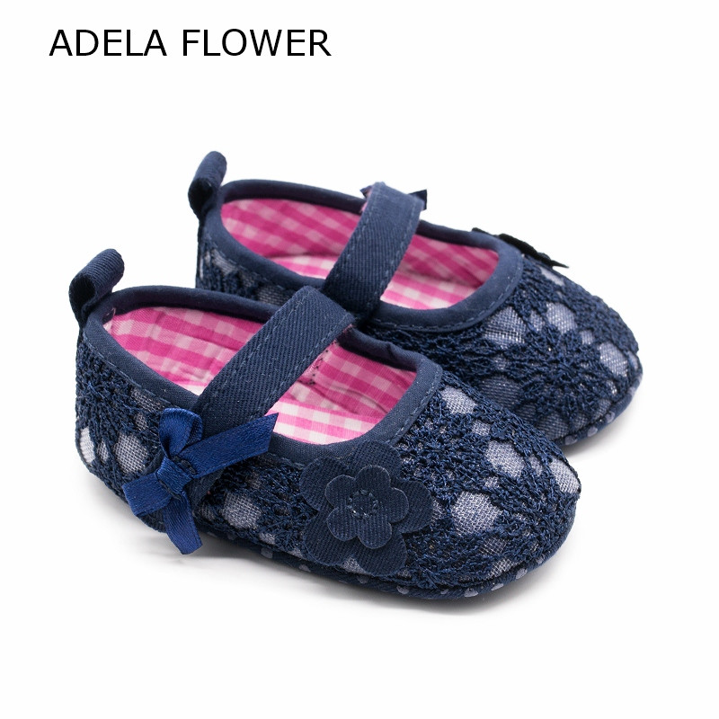 Shoes For Baby Girl Navy Blue Flower Crib Shoes Newborn Shoes Tenis Infantil Menina Soft Sole Baby Moccasins First Walker 0-18M ...