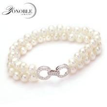 Hermosa Verdadera doble pulseras de perlas de joyería de plata 925 pulsera de perlas naturales de agua dulce chica esposa hija buen regalo de cumpleaños