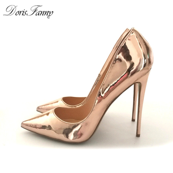 DorisFanny Spring Pointed Toe high heels pumps Patent Leather Gold Silver Party wedding sexy Shoes Large Size 34-45 online shopping in pakistan with free home delivery
