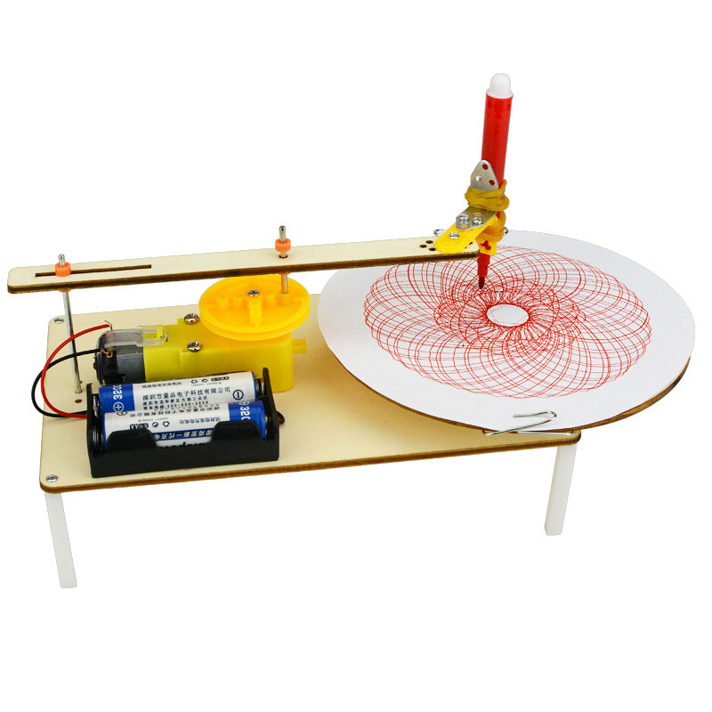 Creative DIY Puzzle Assembled Kits Kids Handmade Graffiti Toy Simple Science Gizmo Physics Experiment Resources Electric Plotter