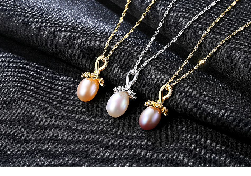 S925 sterling silver necklace pearl flower silver pendant pendant clavicle simple temperament female necklace VS11