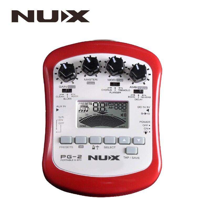 NUX PG-2 портативный электрогитара мульти-педаль эффектов процессор с тюнером метроном встроенный шум ворота