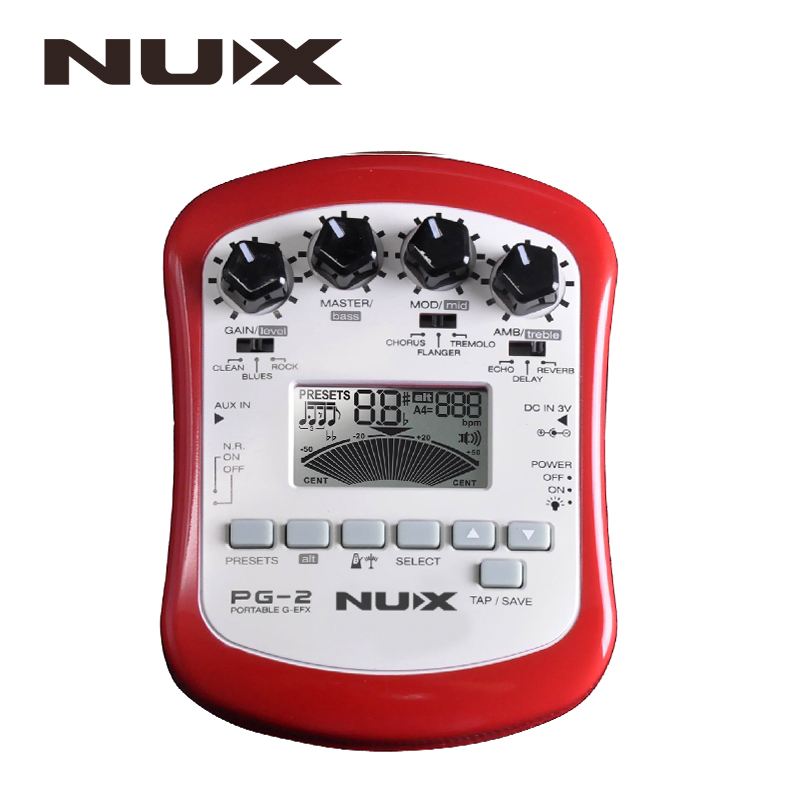 NUX PG-2 Portable Electric Guitar Multi-Effects Pedal Processor with Tuner Metronome Built-in Noise Gate nux pmx 2 multi channel mini mixer 30