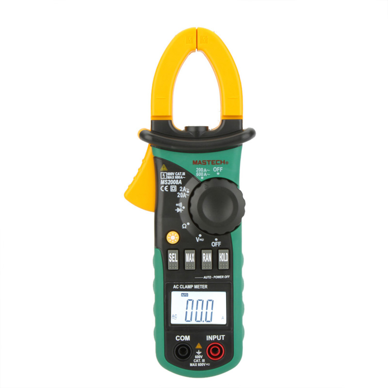 MASTECH MS2008A Digital Clamp Meters Auto Range Clamp Meter Ammeter Voltmeter Ohmmeter w/ LCD Backlight Current Voltage Tester mastech ms2008a auto range digital ac clamp meter ammeter voltmeter ohmmeter with lcd backlight