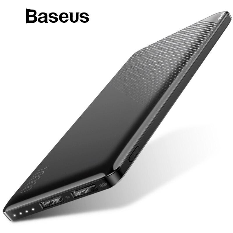 Baseus 10000 mAh banco de potencia para iPhone teléfono móvil Paquete de batería externa portátil Mini banco de potencia Dual USB cargador banco de energía