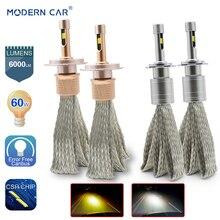ФОТО modern car csp chips h4 h7 h1 9005 9006 60w 6000lm led headlights fog light white amber hi-lo headlight bulbs error free canbus