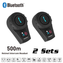 Nuevo 2 Sets 500 M BT Bluetooth Motocicleta Intercomunicador Del Casco Auricular del Interphone Del intercomunicador de Radio FM para el Teléfono/GPS/MP3