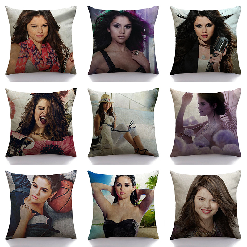 decorUhome Hot Singer Selena Gomez Pillow Case Sofa Bedroom Home Decorative Throw pillow cover sequin cushion cover For Life