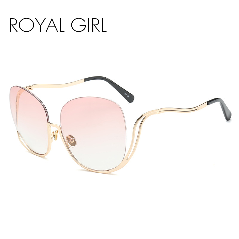 ROYAL MÄDCHEN Frauen Oval Randlose Sonnenbrille Retro halbrand sonnenbrille ss015