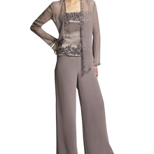 women elegant 3 pieces Appliques Embroidery Satin Chiffon mother of the bride dress pants suit long sleeves for wedding groom