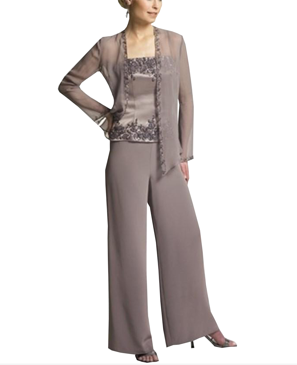 Suit Dress-Pants Satin Wedding-Groom Bride Long-Sleeves Elegant Women 3pieces The of title=