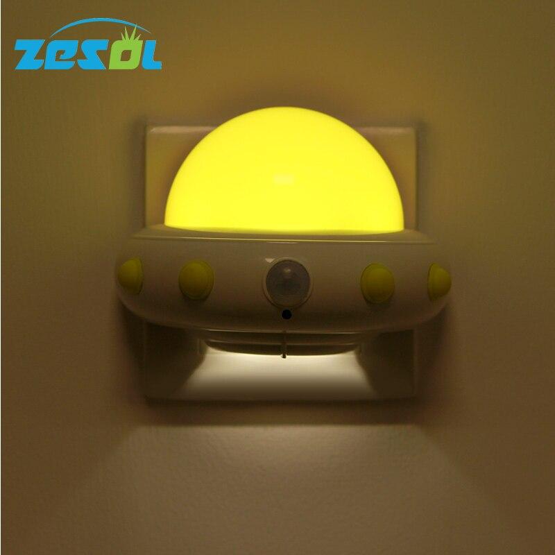 ZESOL UFO LED Nattlampa Design Vägglampa Fjärrkontroll Trådlös korridor Lampa Garderob Sovrum Led Ljuspropp Typ 220V