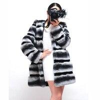 Зимние Теплые Элегантные Женские Настоящий мех кролика пальто верхняя одежда роскошный мех шиншиллы куртка BF C0021
