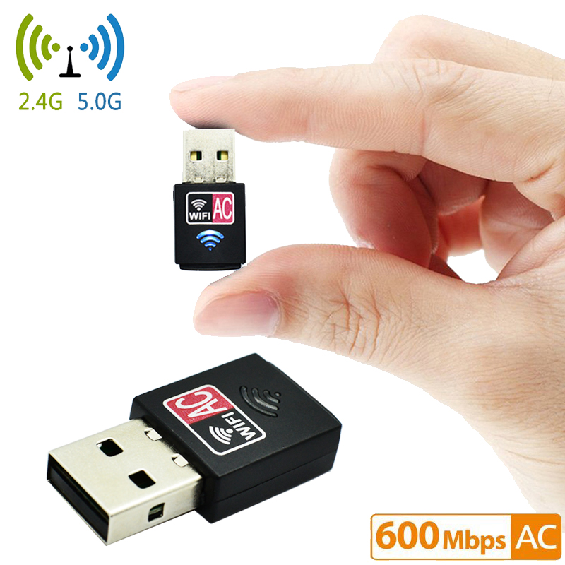 Hot 600Mbps USB WiFi Adapter 2.4GHz 5GHz WiFi Antenna PC Mini Wireless Computer Network Card Receiver Dual Band 802.11b/n/g/ac mini wireless wifi adapter 150 mbps 20dbm antenna usb wifi receiver network card 802 11b n g high speed wifi adaptador