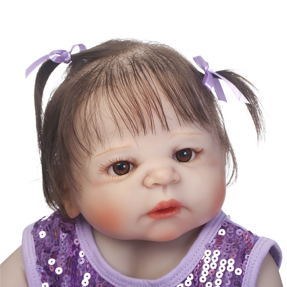New NPK reborn baby girl dolls 23 full body silicone dolls reborn babies bebe alive reborn bonecas rooted hair purple dress New NPK reborn baby girl dolls 23 full body silicone dolls reborn babies bebe alive reborn bonecas rooted hair purple dress