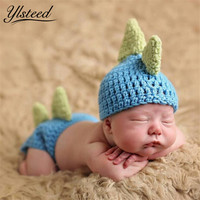 Spring New Baby Hat + Pants Newborn Photography Props Dinosaur Baby Hat Crochet Cartoon Baby Cap Fotografia