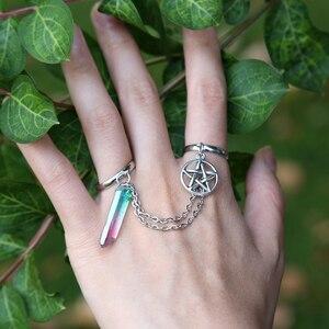 Сменное кольцо с пентаграммой, кольцо с кристаллом Wicca, ретро кварцевое кольцо с кристаллом