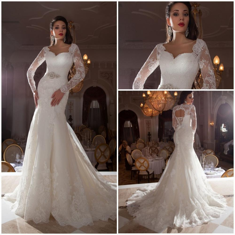2017 Long Sleeve Mermaid Wedding Dresses With Jacket Collar Open Back Lace Liques Sweep Train Bride Robe De Mariage In From