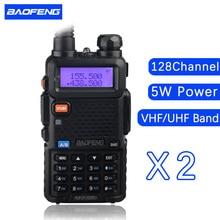 2 PCS baofeng UV 5R dual band walkie talkie radio transceiver dual display radio communicator