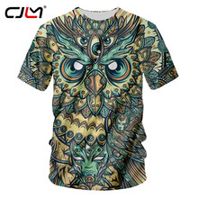 CJLM Fashion Short Sleeve Owl Printed Men Tshirt Cool Funny Men's Tee Shirts Tops Summer T-shirt Quick Dry Casual T Shirt Unisex(Hong Kong,China)