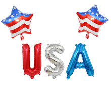 Neue Die Vereinigten Staaten Unabhängigkeit Tag Brief USA Star Luftballons Aluminium Folie Ballon USA Geburtstag Vierte Juli Garten Decor(China)