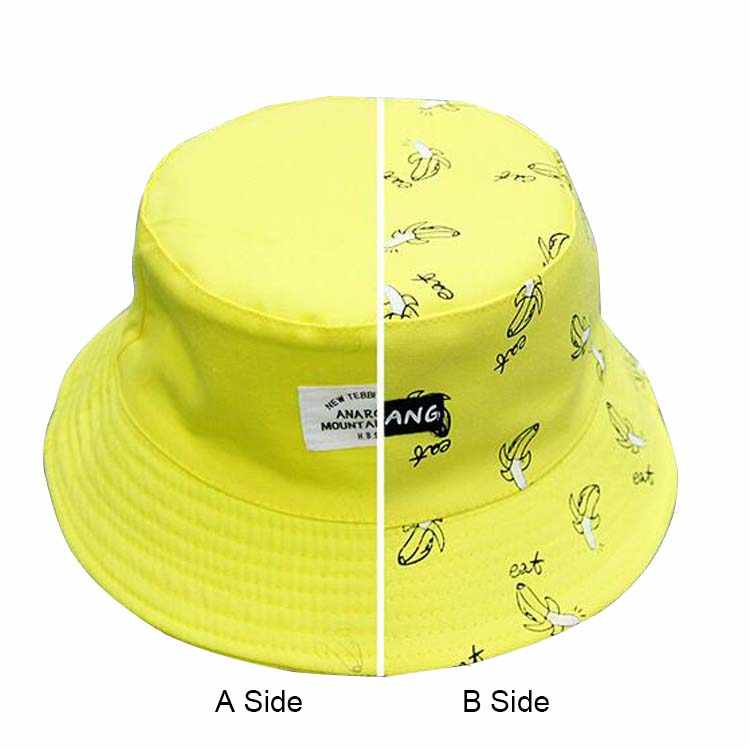 09179d151f6 ... AB Two Side Women s Autumn Bucket Hat Bob Caps Hip Hop Gorro Women  Summer Cap Banana ...