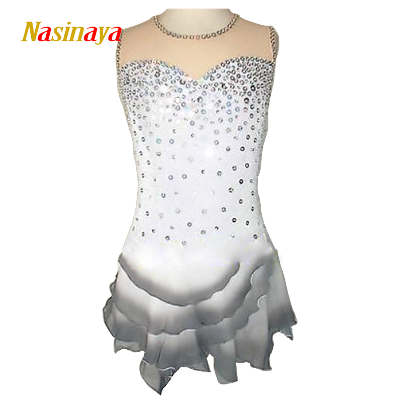 Customized Costume Ice Figure Skating Dress Gymnastics Competition White Gray Adult Child Performance Rhinestone Petal Hemlines vik max adult kids dark blue leather figure skate shoes with aluminium alloy frame and stainless steel ice blade